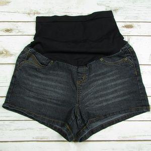 Belly By Design Large Denim Maternity Mini Shorts